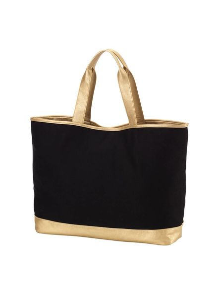 Wholesale Boutique Black & Gold Cabana Tote