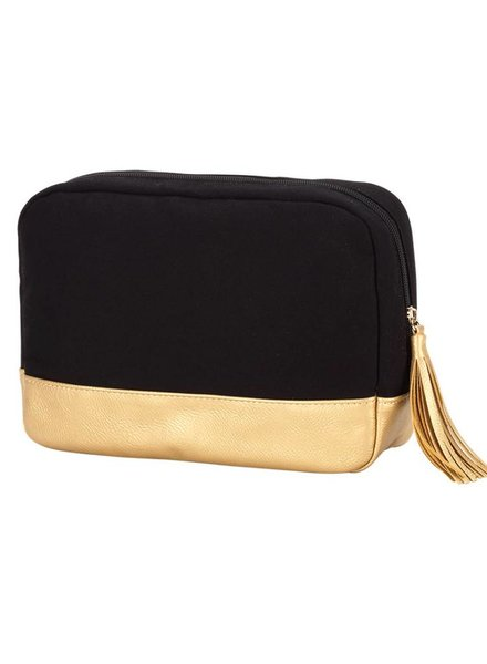 Wholesale Boutique Black Cabana Cosmetic Bag