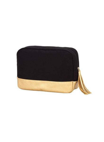 Wholesale Boutique Black Cabana Cosmetic Bag