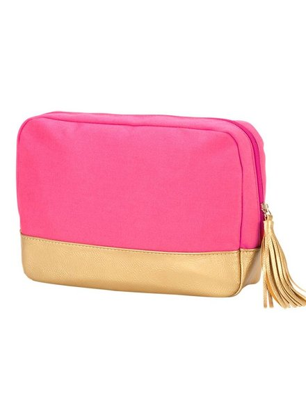 Wholesale Boutique Hot Pink Cabana Cosmetic Bag