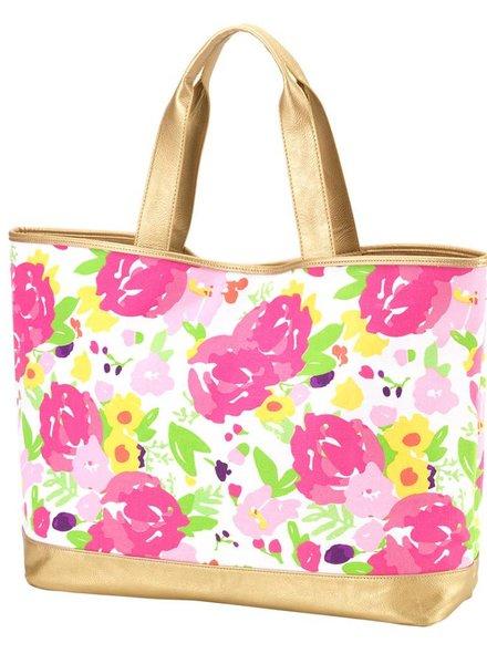 Wholesale Boutique Pink Floral Cabana Tote Bag