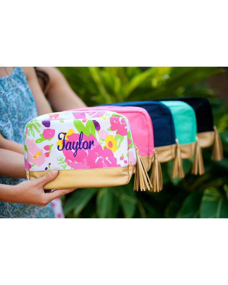 Wholesale Boutique Pink Floral Cabana Cosmetic Bag