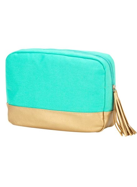 Wholesale Boutique Mint Cabana Cosmetic Bag