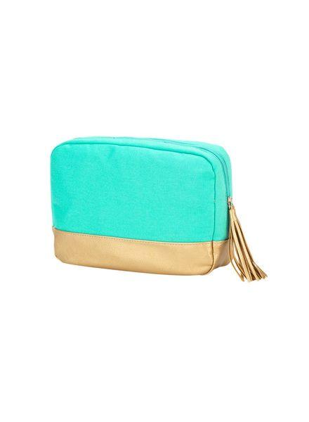 Wholesale Boutique Mint Cabana Cosmetic Bag