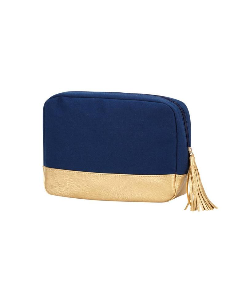 Wholesale Boutique Navy Cabana Cosmetic Bag