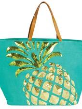 Mudpie Pineapple Sequin Jute Tote Bag
