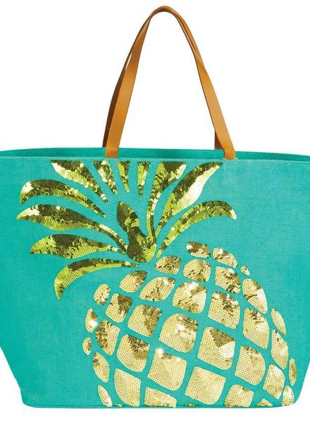 Mudpie Pineapple Sequin Jute Tote Bag