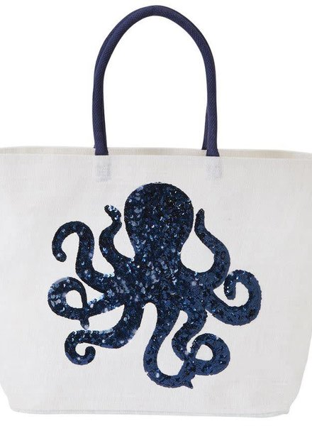 Mudpie White Octopus Sequin Jute Tote Bag