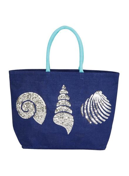 Mudpie Navy Sequin Shell Jute Tote Bag