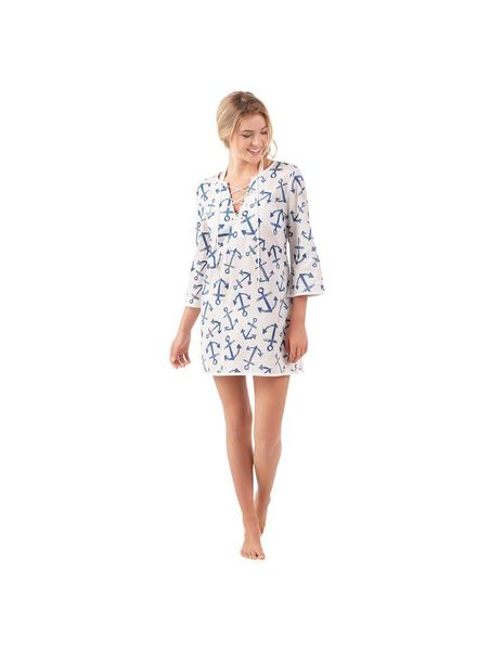 Mudpie Blue Anchor Easton Tunic Coverup