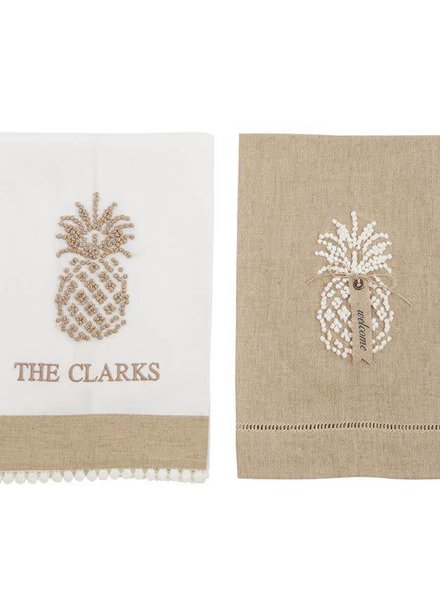 Mudpie Taupe Pineapple Linen Towel