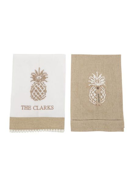 Mudpie Taupe Pineapple Linen Towel