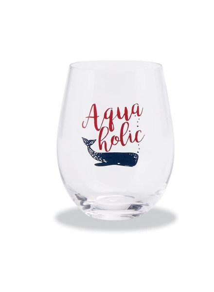 Mudpie Aquaholic  Stemless Wine Glass