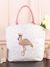 Two's Company Flamingo Beaded Tote Bag