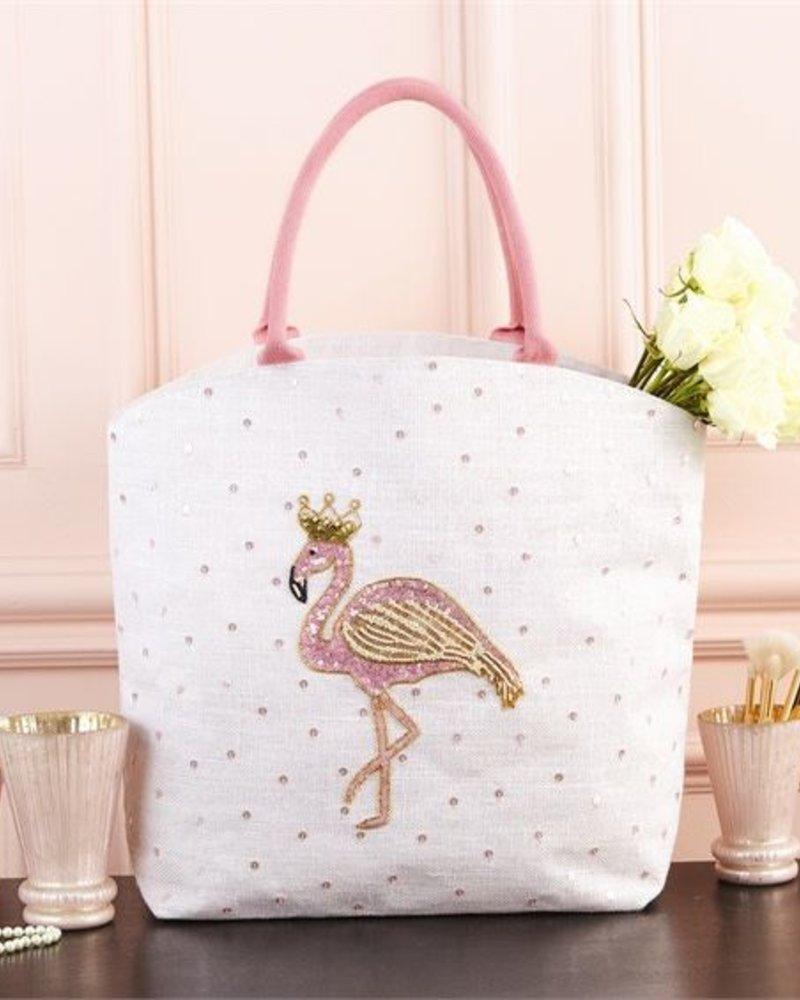 Two's Company Flamingo Beaded Tote Bag
