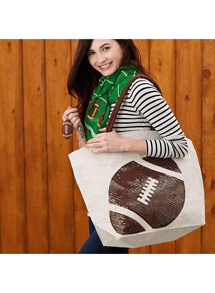 Two's Company Sequin Football Tote Bag