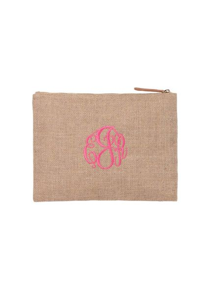 Wholesale Boutique Burlap Zip Pouch