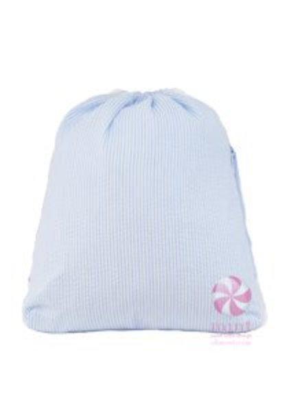 Mint Baby Blue Seersucker Sling Bag