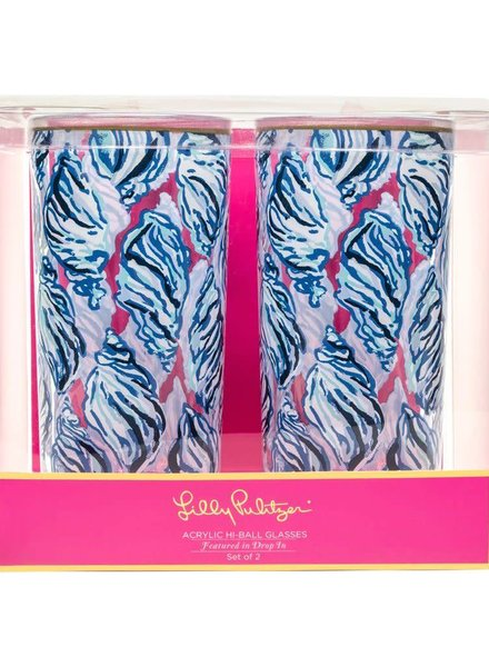 Lilly Pulitzer Drop In Hi Ball Glasses