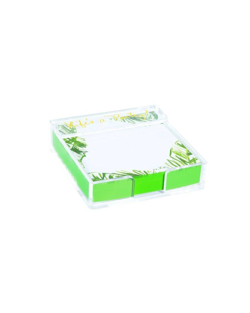 Lilly Pulitzer Painted Palm Acrylic Holder & Notes