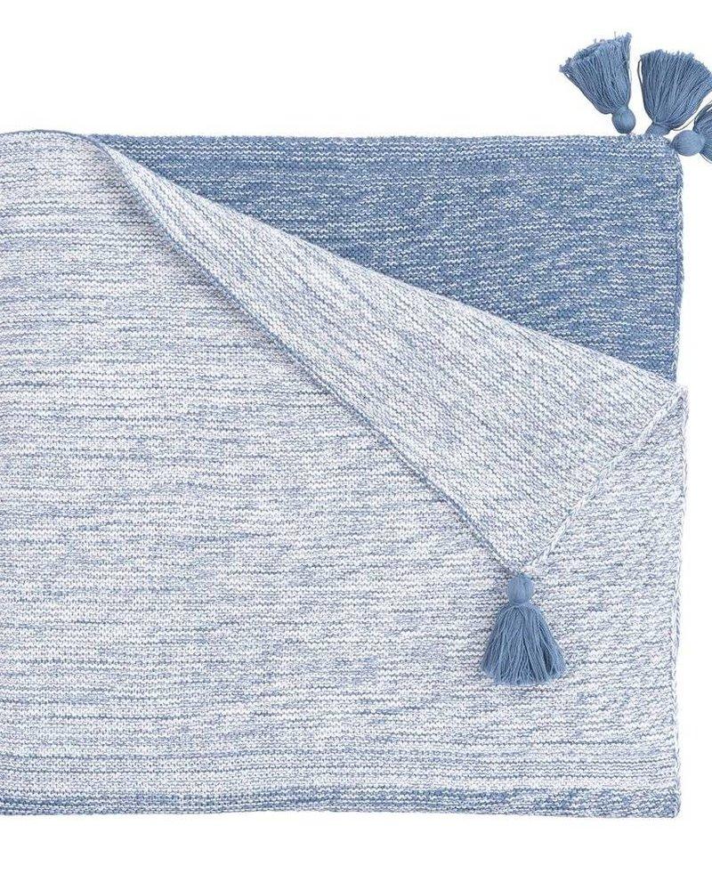 Elegant Baby Blue Ombre Tassel Blanket