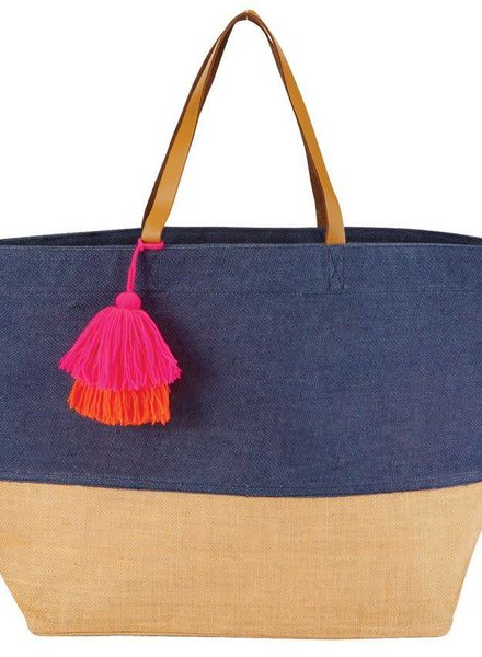 Mudpie Navy Color Pop Tote Bag