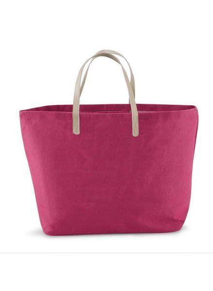 Mudpie Hot Pink Monogrammed Tote Bag