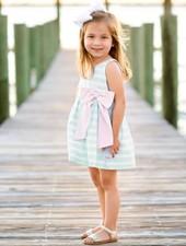 Ruffle Butts Aqua Striped Dress