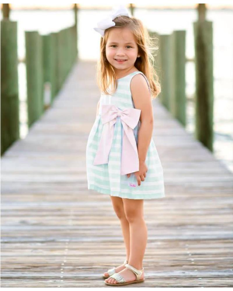 Ruffle Butts Aqua Striped Dress