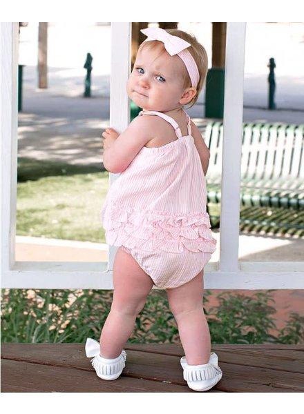 Ruffle Butts Pink Seersucker Bow Romper