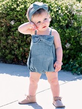 Ruffle Butts Ruffle Butts Romper - Light Denim