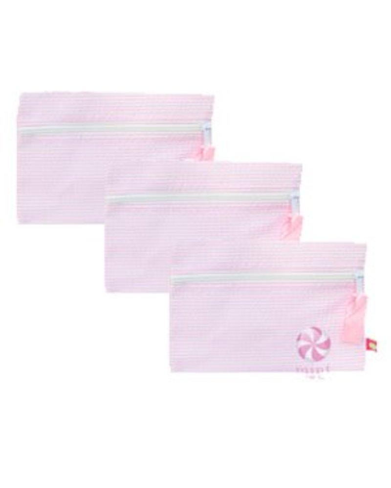 Mint Pink Seersucker Cosmo Bag
