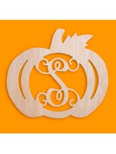 Wholesale Boutique Wood Pumpkin Monogram