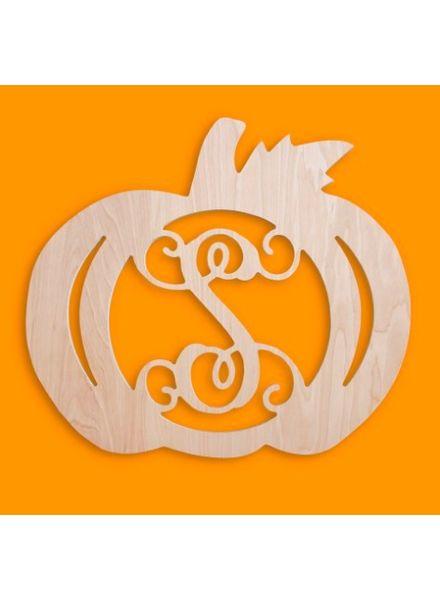 Wholesale Boutique Wood Pumpkin Monogram