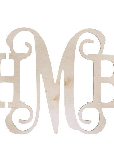 Wholesale Boutique Wood Middle Vine Monogram