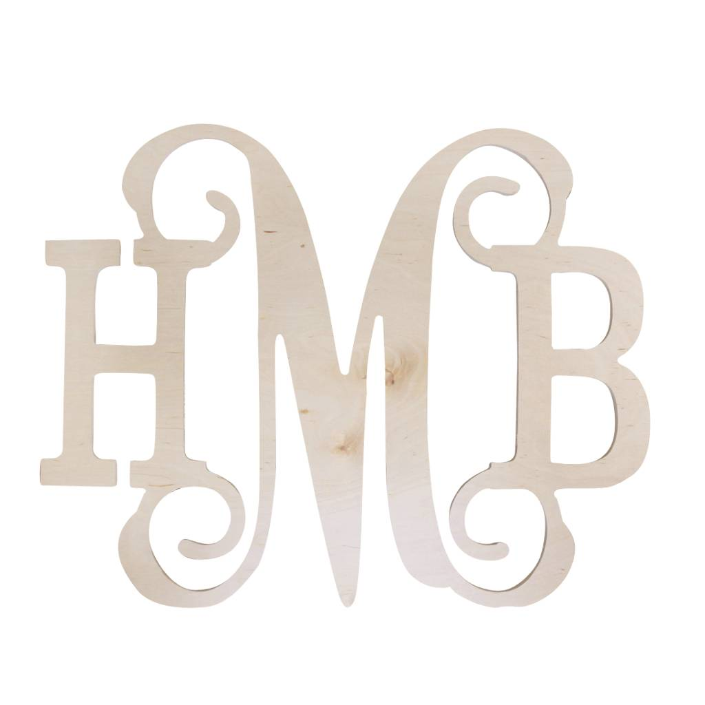 wb wood sign 3 letter monogram middle vine initial styles