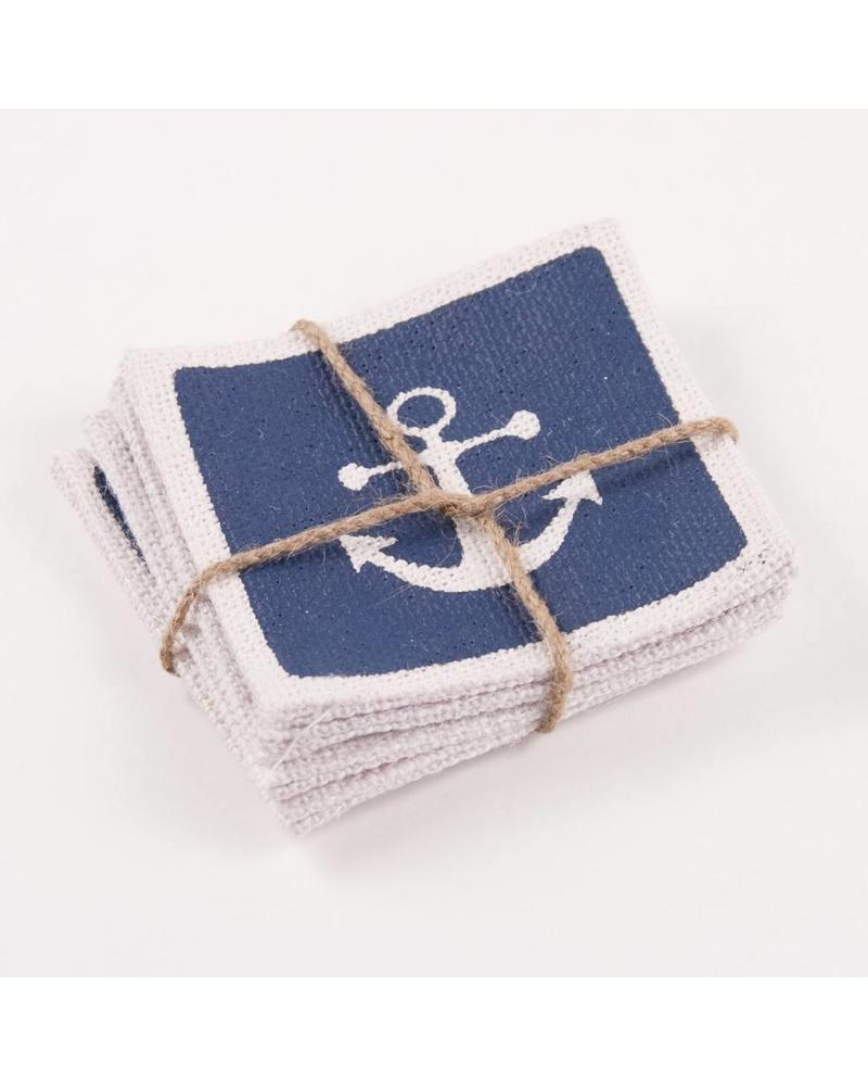 ROYAL STANDARD Anchor Burlap Coasters