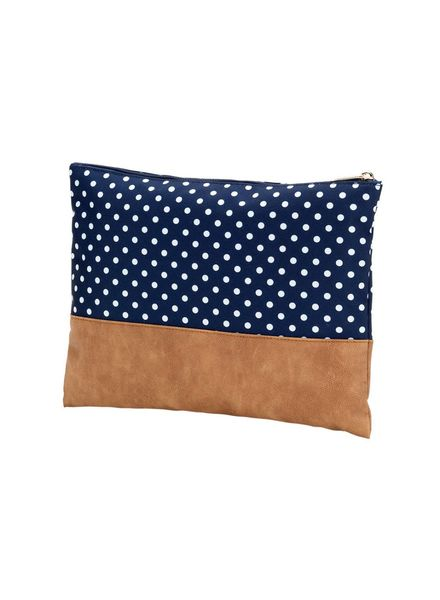 Wholesale Boutique Navy Dot Zip Pouch