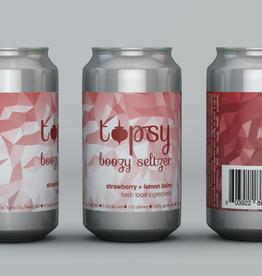 Fonta Flora Topsy Strawberry+Lemon Balm Boozy Seltzer 6 pack 12 oz