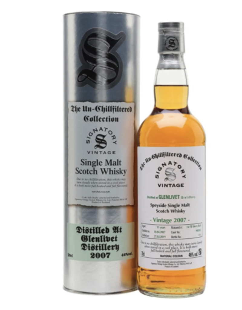 Signatory Vintage  Scotch Whisky Co. Ltd. Signatory  2007 Glenlivet Cask Strength Collection Single Malt Scotch 750 ml