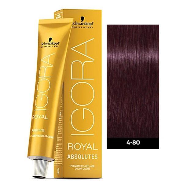 4-80 Medium Brown Red Natural 60g - Igora Royal Absolutes by Schwarzkopf