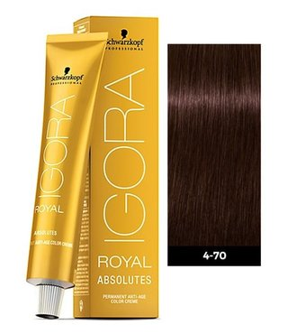 4-70 Medium Brown Copper Natural 60g - Igora Royal Absolutes by Schwarzkopf