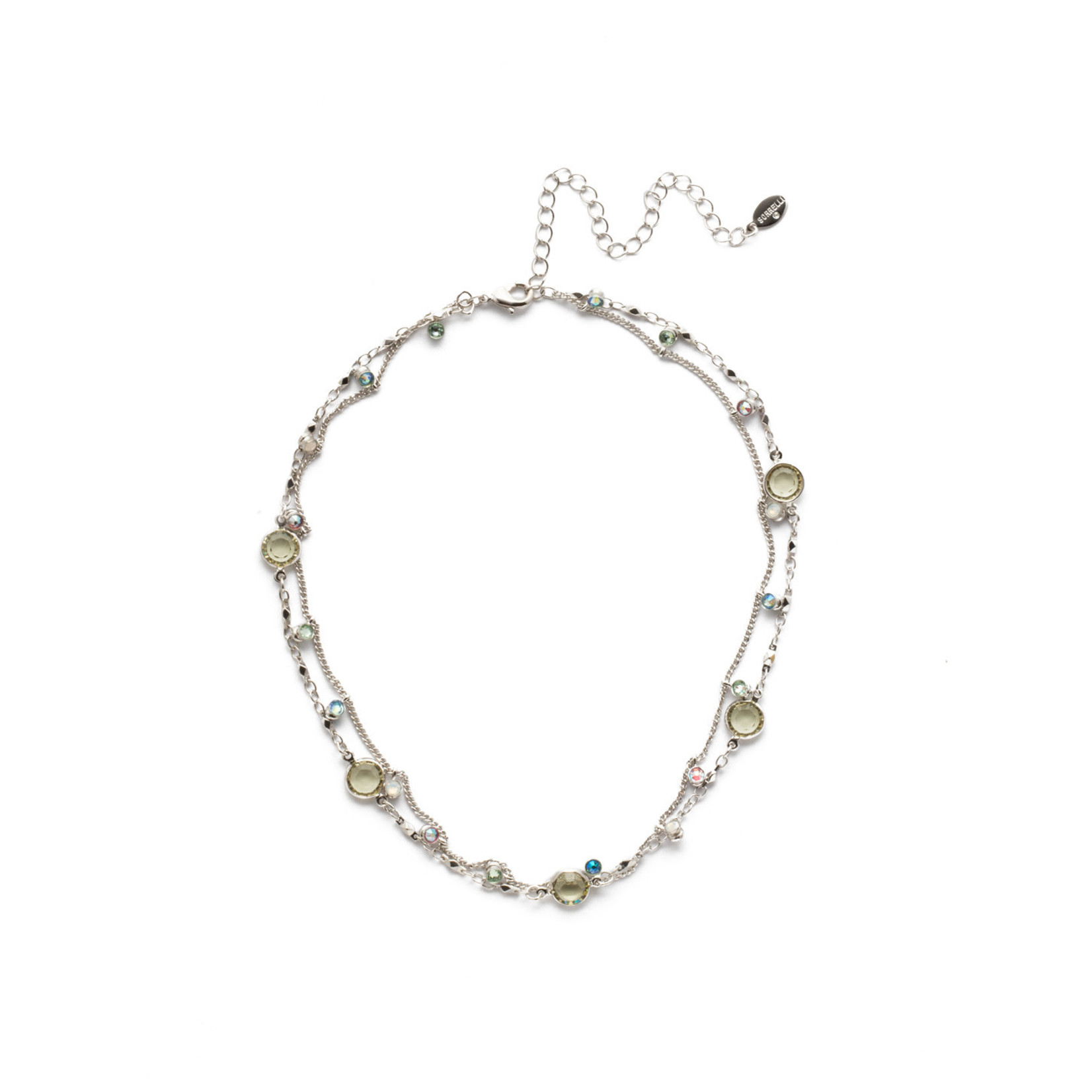 Sorrelli Sorrelli Dewdrop Layered Necklace in Rhodium Seersucker