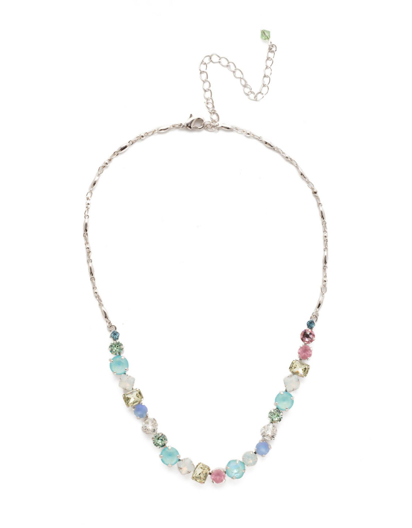 Sorrelli Sorrelli Papaver Classic Line Necklace in Rhodium Seersucker