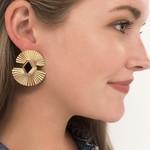 Treasure Jewels Earring Double Fan Black