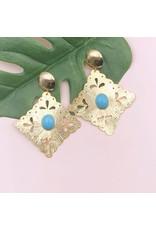 Treasure Jewels Earring Rombo Turquoise