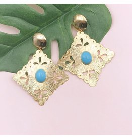 Treasure Jewels Earring Rombo Turquoise