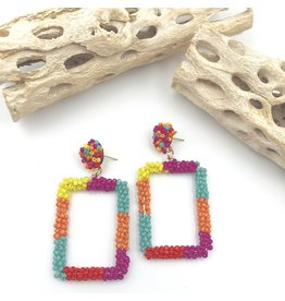 Treasure Jewels Earring Beaded Square