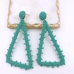 Treasure Jewels Earring Beaded Triangle Turq