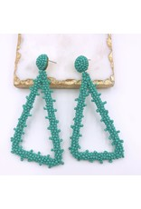 Treasure Jewels Earring Beaded Triangle Turq